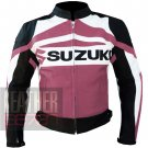 Suzuki GSX Pink Pure Cowhide Leather Safety Racing Jackets For Ladies