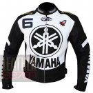 Yamaha 6 Black Pure Cowhide Leather Racing Safety Jacket For Bike Riders