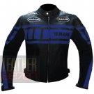 New Men's Designer Genuine Cowhide Safety Leather Yamaha 0120 Blue Jacket