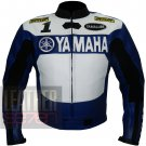 New Arrival Pure Cowhide Leather Racing Jacket .. Yamaha 0588 Blue Coat