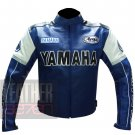 Protective Motorcycle Pure Cowhide Leather Racing Jacket ... Yamaha 0820 Blue