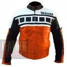 Genuine Cowhide Leather Racing Jacket For Bikers .. Yamaha 6728 Orange