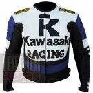 New Best Arrival Of Cowhide Leather Motorbike Jacket . Kawasaki 1 Blue Coat