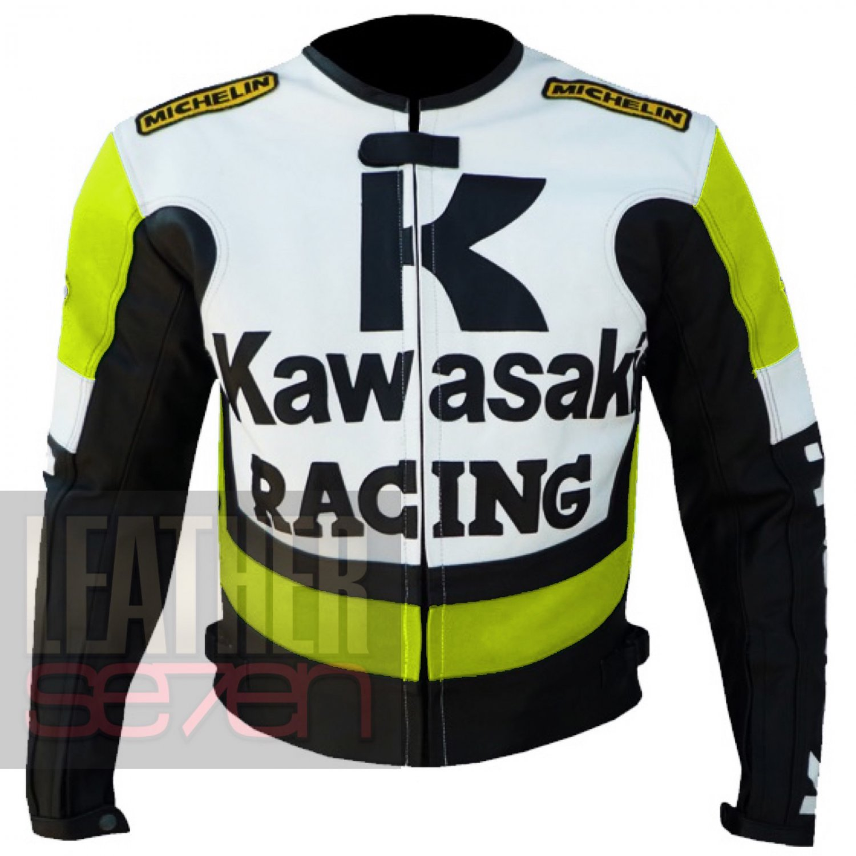 New Fashion Classic Leather Jacket For Bikers .. Kawasaki 1 Fluorescent ..