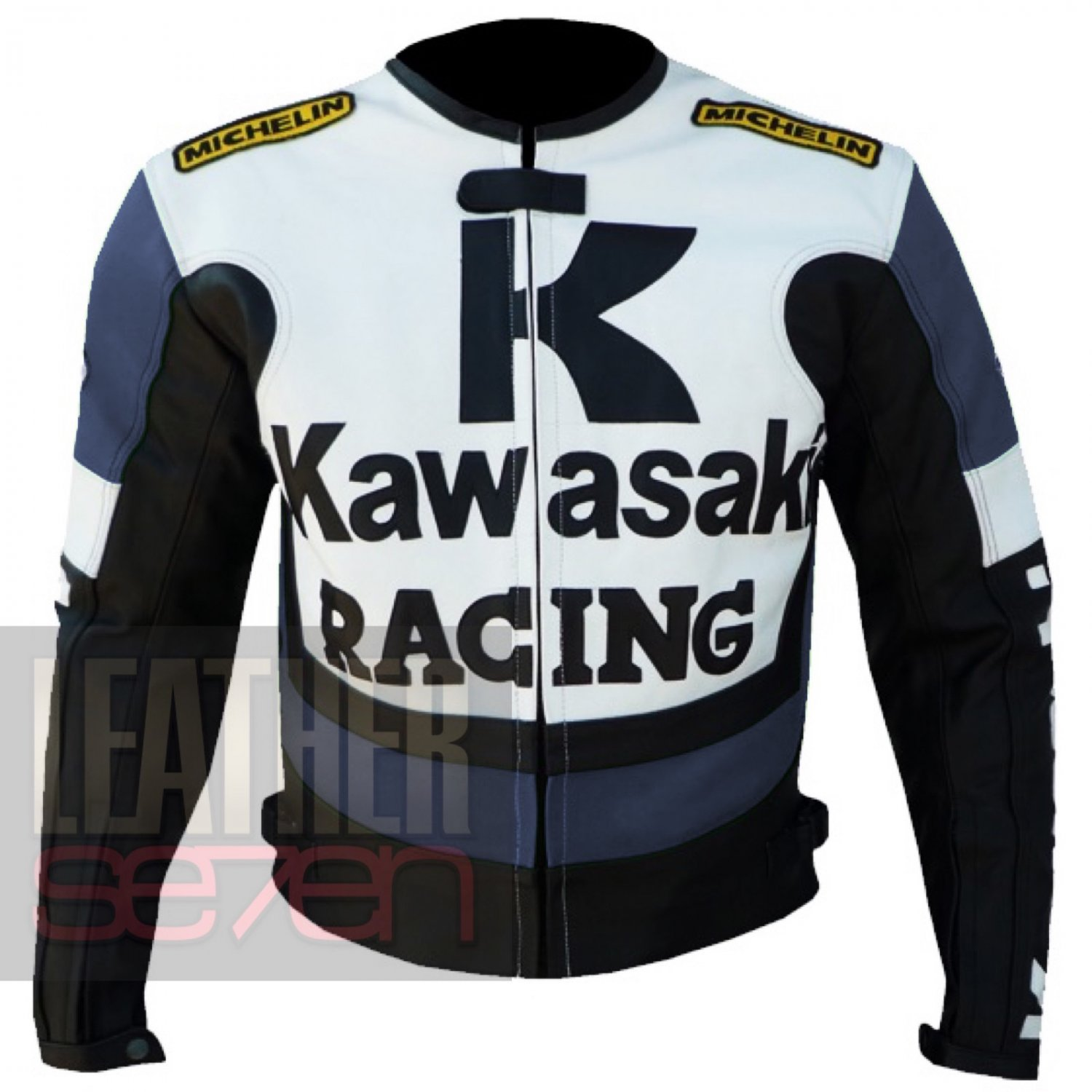 Best Quality Textile Racing Jackets For Bikers .. Kawasaki 1 Navy Blue Coat
