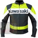 Kawasaki 2020 fluorescent  Pure Cowhide Leather Motorbike Armour Jacket