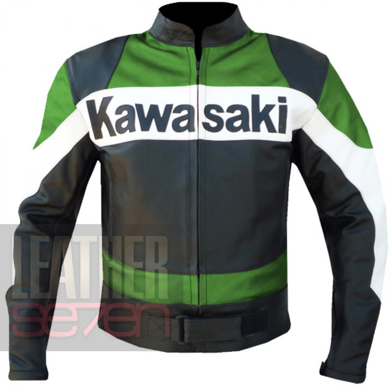 Pure Cowhide Leather Motorbike Jacket . Kawasaki 2020 Green Coat For Men .