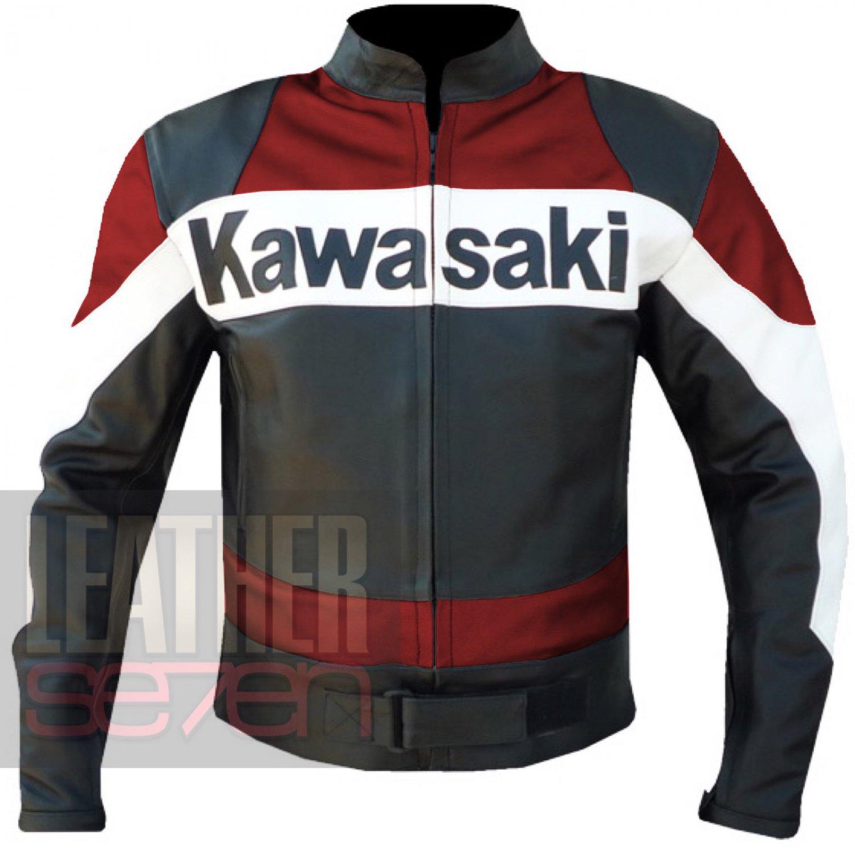 Red Kawasaki 2020 Genuine Leather Motorcycle Armour Racing Coat