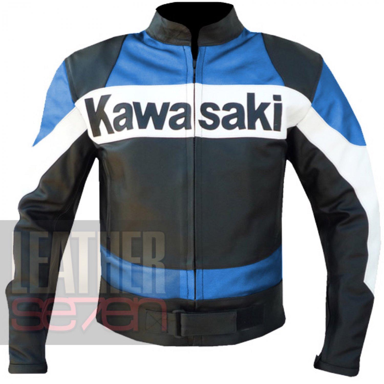 Kawasaki Sky Blue 2020 Real Cowhide Leather Coat . Motorcycle Jacket