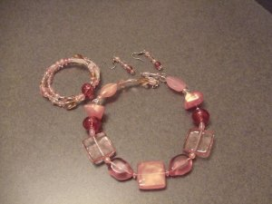 Pink jewels necklace, earrings, and bracelet set