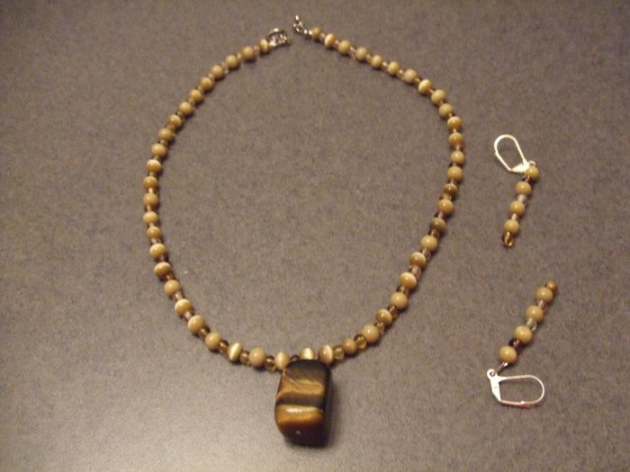 Sand pearl stone necklace and earrings