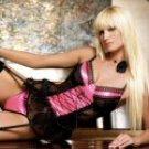 2 Piece Pink with Black Satin Underwire Cami Garter