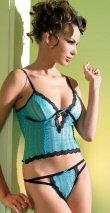 Turquoise 2 Piece Ribboned Lace Cami Set with Embroidered Scallop Lace Trim