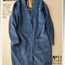 blue Corduroy woolen overcoat short cardigan coat outwear jacket