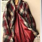 Plaid woolen overcaot Grid cardigan short coat outwear Woman oversized coat
