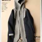 blue Hooded parkas color patchwork winter coat sweater overcoat jacket
