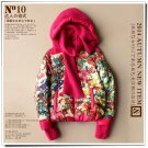 pink Hooded floral down coat short parkas jacket 90% duck's down