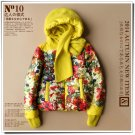 yellow floral down coat Hooded  short parkas jacket 90% duck's down