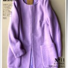 Solid violet woolen overcoat cardigan pocket winter coat