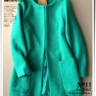 Solid light blue woolen winter overcoat cardigan coat