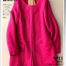 Solid rose woolen cardigan coat sweet winter overcoat