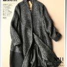 gray color patchwork woolen coat winter overcoat cardigan thick