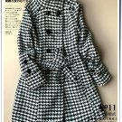 swallow grid woolen coat plus size winter overcoat cardigan jacket in black and white