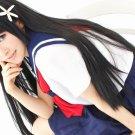 Toaru Kagaku no Railgun Saten Ruiko long black 80cm straight anime cosplay party full wig