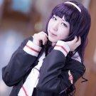 CARDCAPTOR SAKURA CCS Daidouji Tomoyo long curly 80cm purple black anime cosplay party full wig