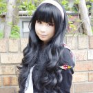 CARDCAPTOR SAKURA CCS Daidouji Tomoyo long curly 80cm black anime cosplay wig