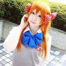 new Gekkan Shoujo Nozaki kun Sakura Chiyo long 80cm orange Anime cosplay full wig