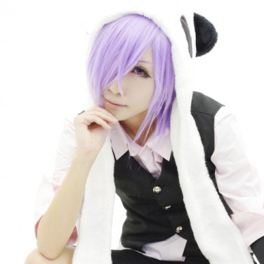 UN-GO short purple  anime cosplay party full wig