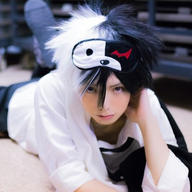 DANGANRONPA monokuma black white short anime cosplay party full wig