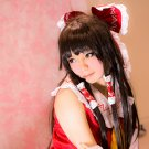 TouHou Project Hakurei Reimu long 60cm black brown anime cosplay party full wig