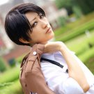 Attack on Titan Levi Rivuai Rivaille Investigation Corps short brown anime cosplay party full wig