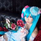 Vocaloid Hatsune Zatsune Miku blue anime cosplay party full hair wig + 2 Clips 120CM Ponytails