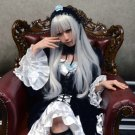 Rozen Maiden Suigintou long straight silver white 100cm anime cosplay full wig