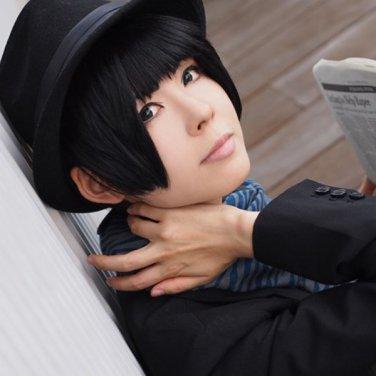 APH Axis Powers hetalia APH JAPAN Honda Kiku Short BLACK Anime Cosplay Party Hair wig