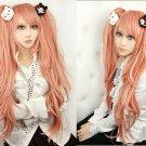Danganronpa Junko Enoshima pink Ponytails Cosplay Costume Wig + bear Hairpins