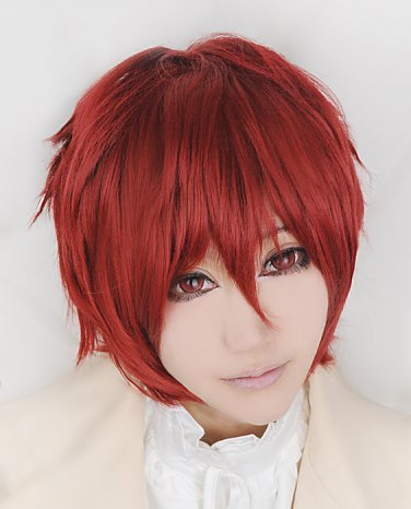 Kagerou Project Hibiya short red cosplay costume wig+ free wig cap