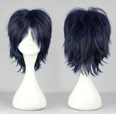 Prince of Tennis Chitose Senri D.Gray-Man Road Kamelot short dark blue mix anime cosplay wig