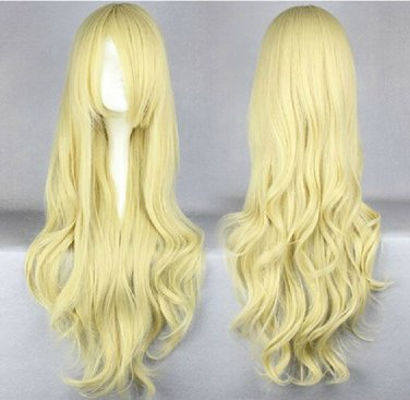 TouHou Project Kirisame Marisa MARISTAR long curly blonde 80cm anime cosplay wig