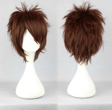 okiagari Toshio Ozaki Nagakura Shinpachi short brown anime cosplay wig