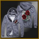 Attack on Titan stationed corps zipper anime cosplay cardigan hoodie coat sweatshirt