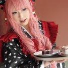AMNESIA MINE long 80cm dark pink curly anime cosplay wig