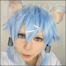 SWORD ART ONLINE Asada shino Sinon short light ice blue anime cosplay wig + two ears