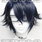 K Saruhiko Fushimi Short layered Dark Blue Anime Cosplay Wig COS