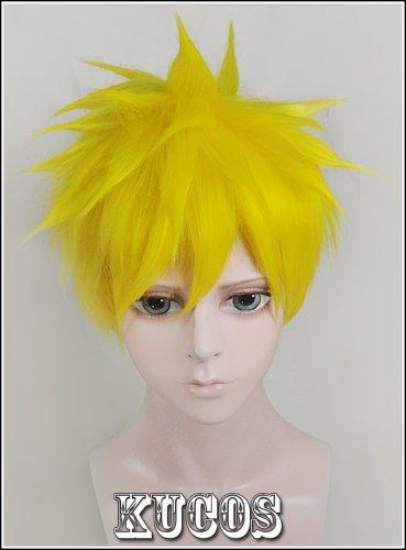 Yowamushi Pedal Weak Pedals Fukutomijyuiche Uzumaki Naruto short yellow anime cosplay costume wig