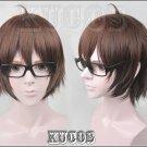NEW Meganebu! Soma Akira Short Brown mix Cosplay wig costume glasses
