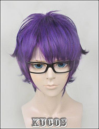 NEW Meganebu! Short purple mix anime cosplay wig
